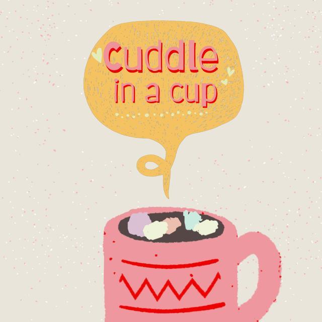 Designvorlage Cute Pink Cup with Marshmallow für Animated Post