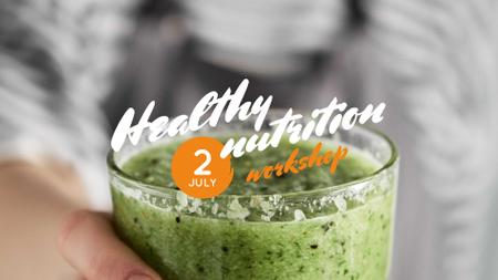Woman holding Green Smoothie FB event cover Design Template