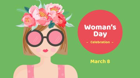 Women's Day Celebration with Girl in Flower Wreath FB event cover – шаблон для дизайну