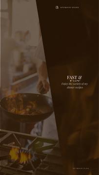Restaurant Menu Chef Cooking on Frying Pan