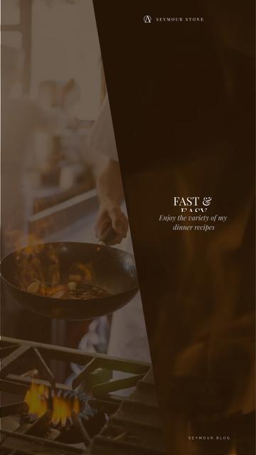 Restaurant Menu Chef Cooking on Frying Pan Instagram Video Story – шаблон для дизайна