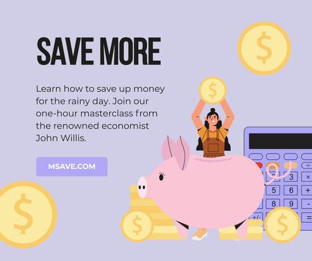 Designvorlage Money Saving tips with Piggy Bank für Facebook