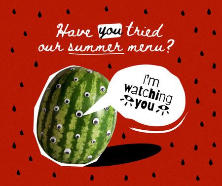 Modèle de visuel Funny Watermelon with Eyes - Facebook