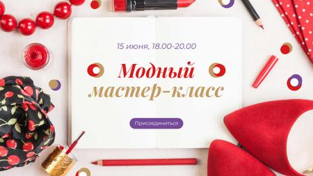 Fashion Masterclass Ad with Red Accessories FB event cover – шаблон для дизайна