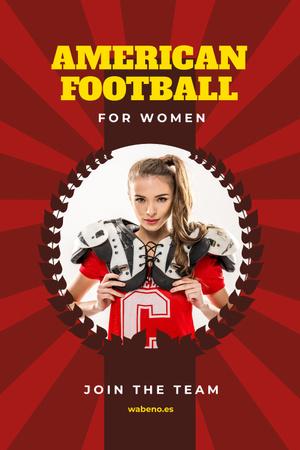 Plantilla de diseño de American Football Team Invitation with Girl in Uniform Pinterest