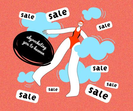 Woman in the Sky Happy about Sale Facebook Design Template