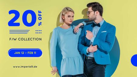 Modèle de visuel New Fashion Collection Announcement with Stylish Couple - FB event cover