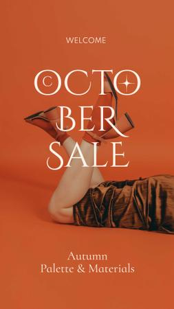 Autumn Sale Ad with Woman in Stylish Shoes Instagram Story Design Template