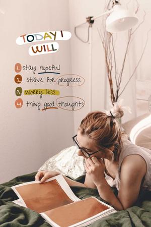 Plantilla de diseño de Mental Health Inspiration with Woman reading Magazine Pinterest