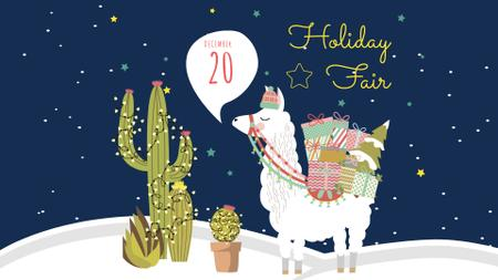 Christmas Holiday Fair Announcement with Cute Lama FB event cover Design Template