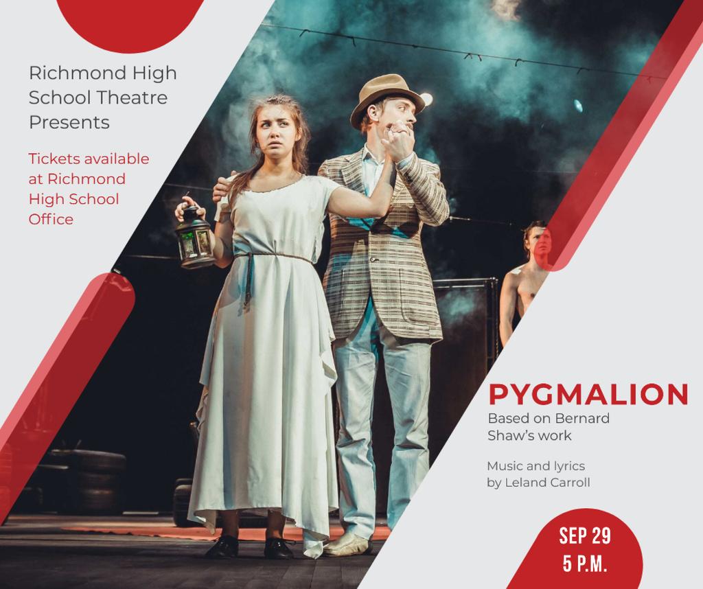 Designvorlage Theater Invitation Actors in Pygmalion Performance für Facebook