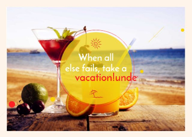 Template di design Summer cocktail on tropical vacation Card