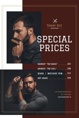 Barbershop Ad with Stylish Bearded Man Tumblr tervezősablon