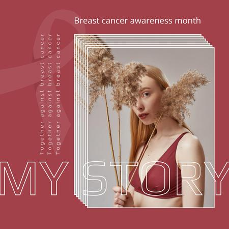Breast Cancer Awareness Month Announcement with Woman in Bra Instagram – шаблон для дизайну