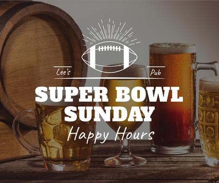Ontwerpsjabloon van Facebook van Super Bowl Offer Beer in glasses