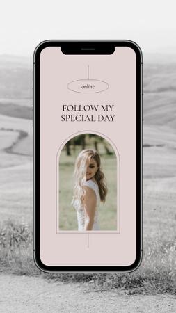 Online Wedding Announcement with Bride on Phonescreen Instagram Story – шаблон для дизайну