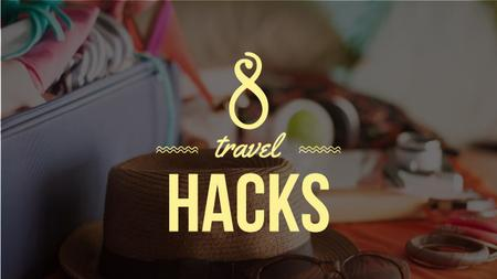 Travel Hacks Ad Clothes in Travel Suitcase Youtube Thumbnail Design Template