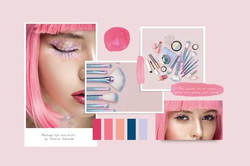 Creative Makeup In Pink With Glitter MoodBoard