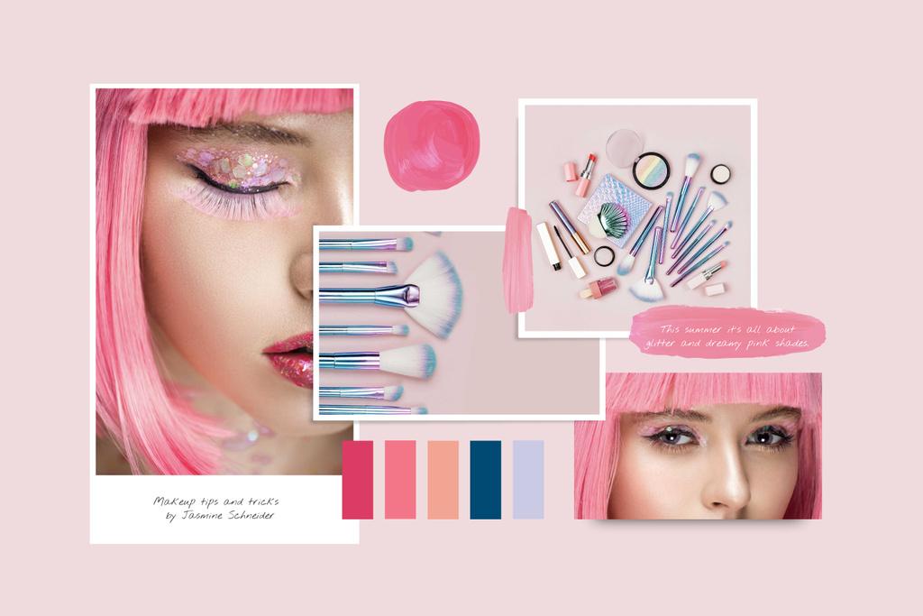 Template di design Creative Makeup in Pink with glitter Mood Board