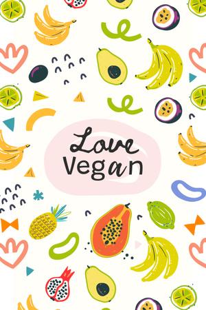 Modèle de visuel Vegan Lifestyle Concept with Fresh Fruits illustration - Pinterest
