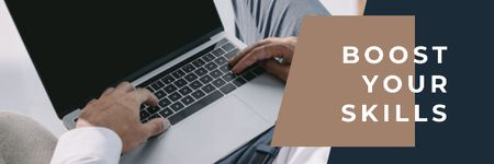 Plantilla de diseño de Productivity Tips with Hands Typing on Laptop Email header