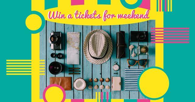 Designvorlage Stylish travel kit for Weekend Trips für Facebook AD