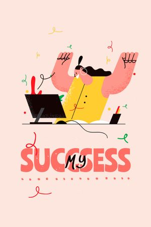 Girl Power Inspiration with Happy Woman on Workplace Tumblr tervezősablon