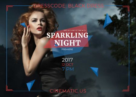 Ontwerpsjabloon van Postcard van Night Party Invitation Woman in Black Dress