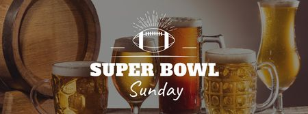 Plantilla de diseño de Super Bowl Announcement with Beer Glasses Facebook cover