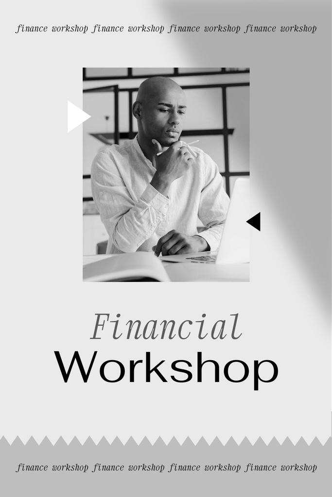 Plantilla de diseño de Financial Workshop promotion with Confident Man Pinterest