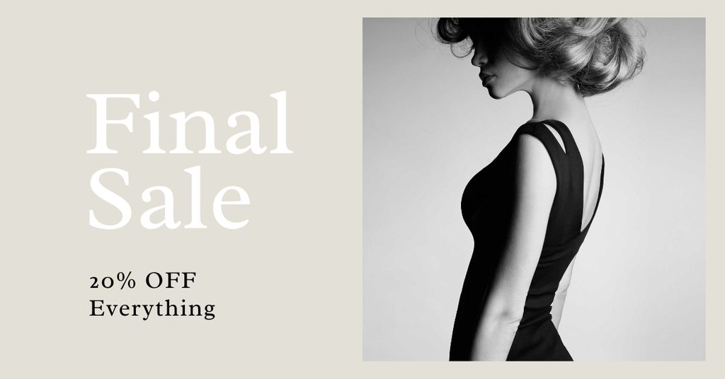 Fashion Sale with Woman in Elegant Dress Facebook AD Design Template