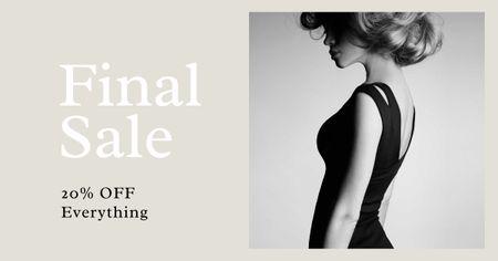 Modèle de visuel Fashion Sale with Woman in Elegant Dress - Facebook AD