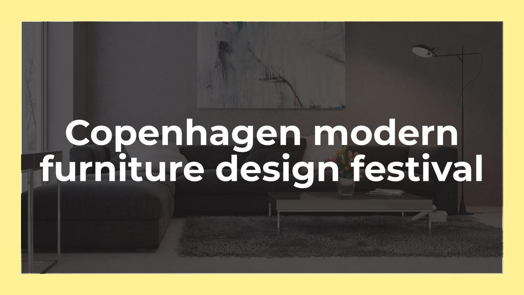 Furniture Design Festival Announcement with Sofa in Grey — ein Design erstellen