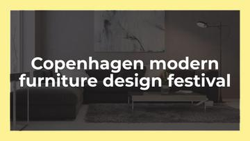 Furniture Design Festival Announcement with Sofa in Grey