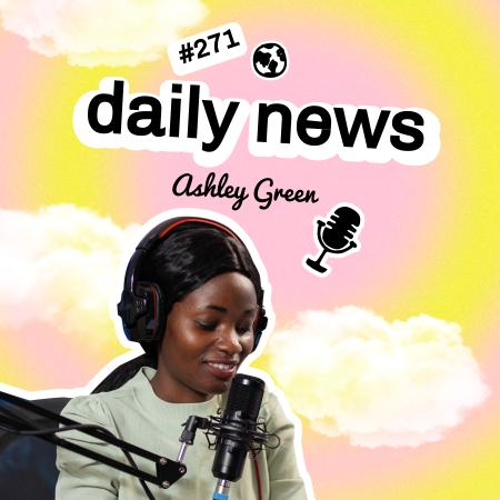 News Podcast Announcement with Woman in Studio Podcast Cover Tasarım Şablonu