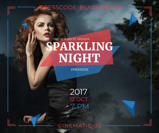 Plantilla de diseño de Night Party Invitation Woman in Black Dress Facebook