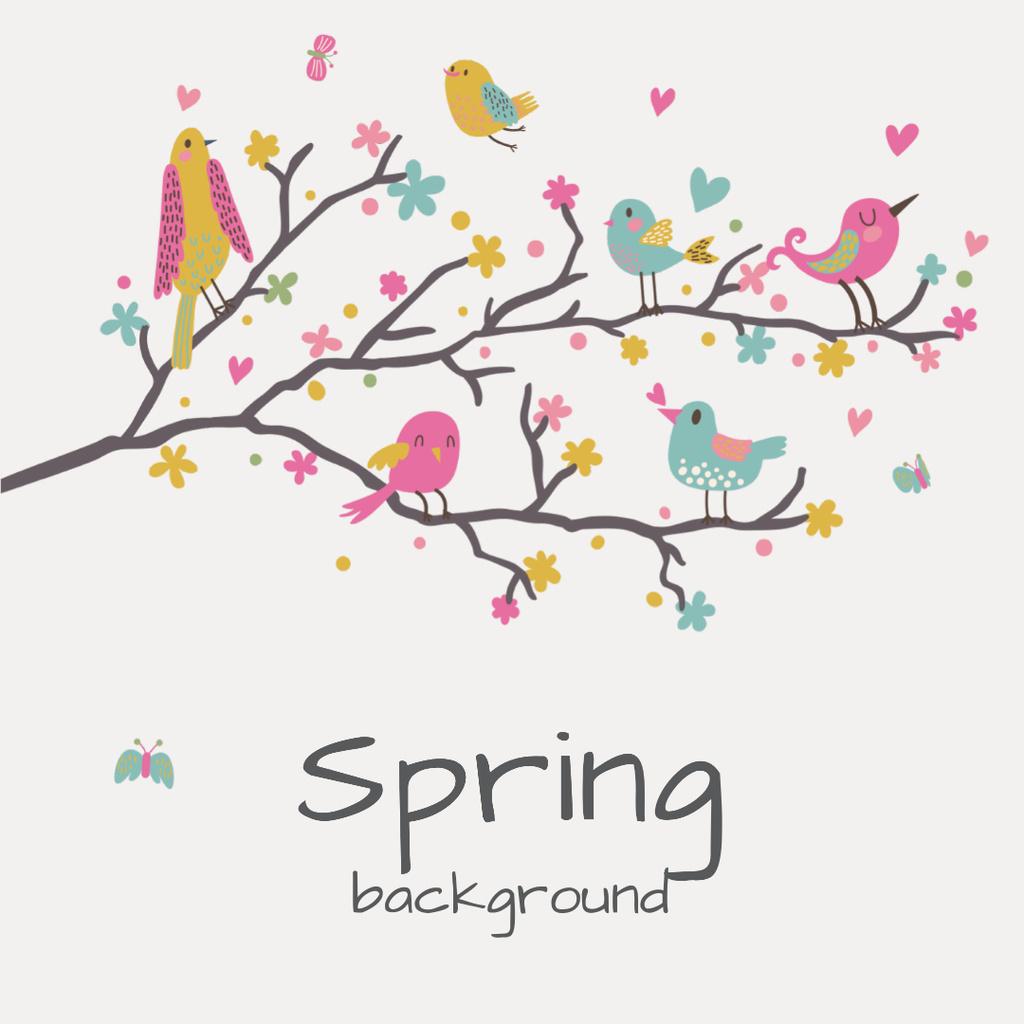 Birds signing on tree branch — Maak een ontwerp
