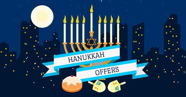 Modèle de visuel Hanukkah Offer with Night City - Facebook AD