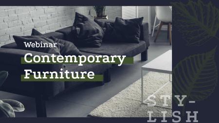 Cozy modern interior in grey for Webinar FB event cover – шаблон для дизайна