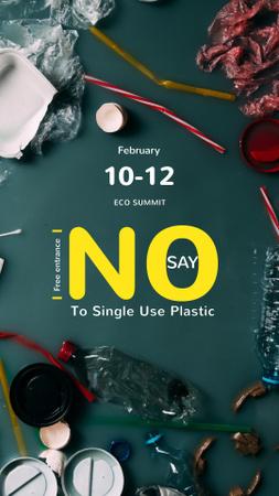 Szablon projektu Plastic Waste Concept with Disposable Tableware Instagram Story