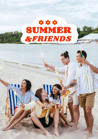 Summer Inspiration with Friends near Tree Posterデザインテンプレート