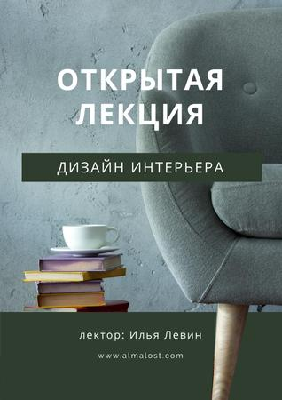 Modern Furniture Offer with stack of Books and Coffee Poster – шаблон для дизайна