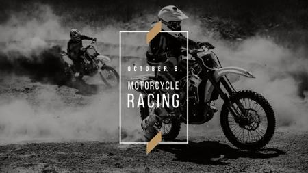 Motorcycle Racing Announcement with Biker FB event cover Design Template