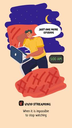 Ontwerpsjabloon van Instagram Story van Streaming Platform Ad with Guy using Laptop