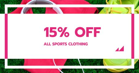 Sports Clothing Offer with Shoes and Headphones Facebook AD Modelo de Design