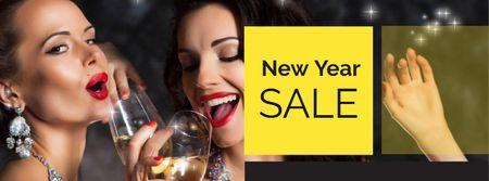 Plantilla de diseño de New Year Sale Announcement with Beautiful Women Facebook cover