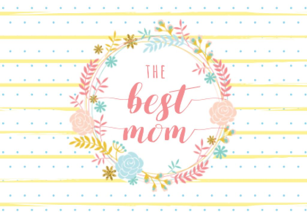 Mother's day greeting in Floral Circle Postcard – шаблон для дизайну