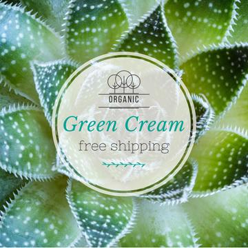 Organic Cream ad on green plant