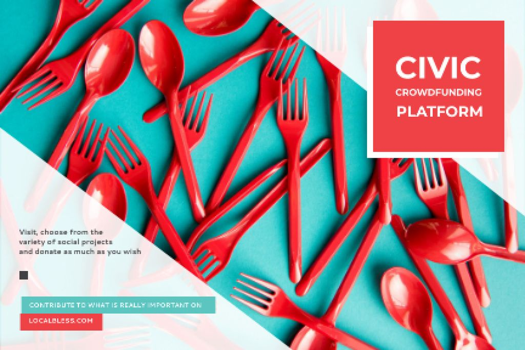 Crowdfunding Platform with Red Plastic Tableware —デザインを作成する