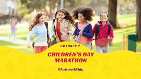 Ontwerpsjabloon van FB event cover van Children's Day Marathon Announcement